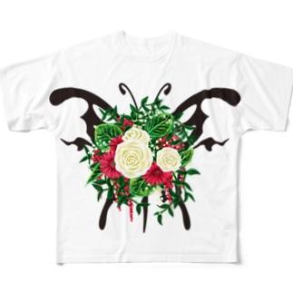 蝶ブーケ フルグラフィックTシャツ