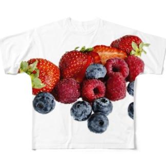 こぼれるWベリー🍓💜 Full graphic T-shirts