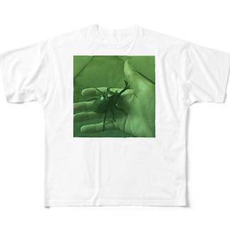 カブトムシを見つけた日(油絵風グリーン) Full graphic T-shirts