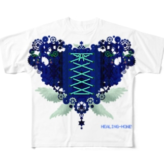 歯車(heart・B/ブルー) Full graphic T-shirts