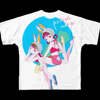 Crab_000のプールサイドバニー フルグラフィックTシャツ