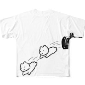 ねこマシンガン Full graphic T-shirts
