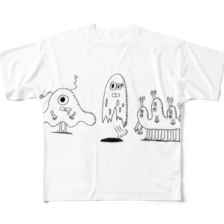 Tommy_is_mozukuのMONSTERS Full graphic T-shirts