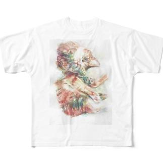 眠たいねこ Full graphic T-shirts