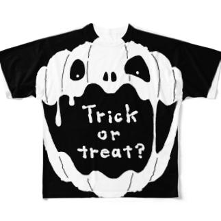【Halloween-T】 No.2 ホワイト Full graphic T-shirts