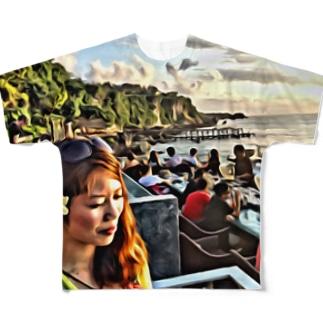 バリの美しい夕日に照らされる美女vol.1 フルグラフィックTシャツ
