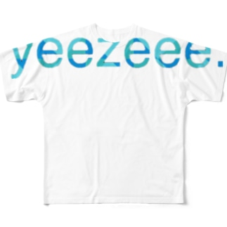 yeezeeeロゴ×青迷彩 Full graphic T-shirts