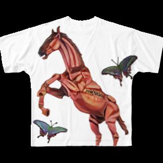 波田野剛望(はたのたけみ)の馬と蝶 Full graphic T-shirts