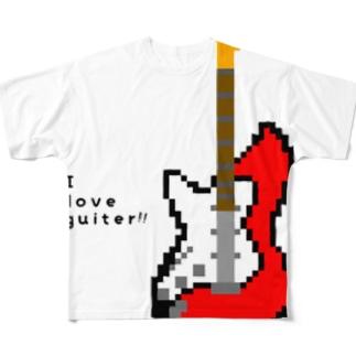 ドットギター(レッド) Full graphic T-shirts