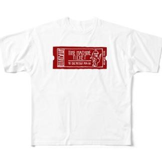 恐竜時代タイムマシンチケット〜白亜紀行き〜 RED Full graphic T-shirts