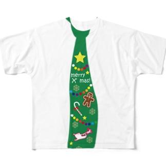 クリスマスネクタイ フルグラフィックTシャツ