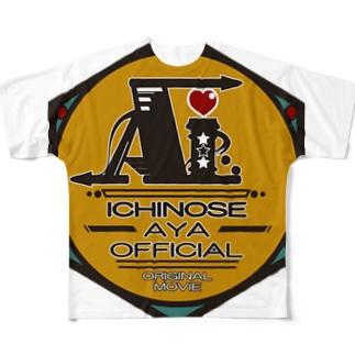 一ノ瀬彩:LOGO_勲章風【英語】 Full graphic T-shirts