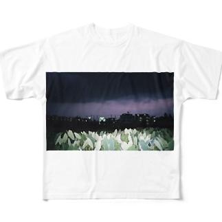 灰色と青 Full graphic T-shirts