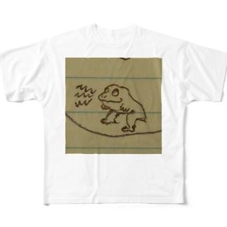 ちょっとイッてるカエル Full graphic T-shirts