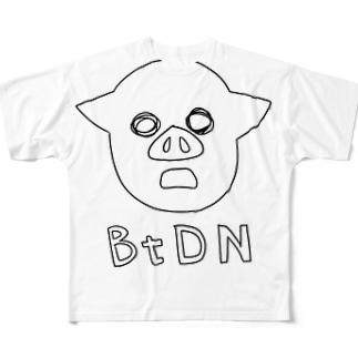 迫真手書き(黒) フルグラフィックTシャツ