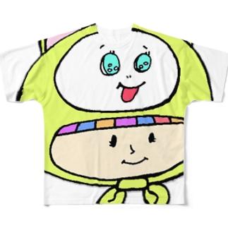 さるのかぶりもの少女 Full graphic T-shirts