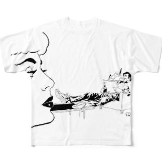喜多村なめろう作『いまとなっては』 Full graphic T-shirts