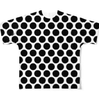 水玉 黒(大) Full graphic T-shirts