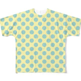 水玉 青緑+背景卵色 Full graphic T-shirts