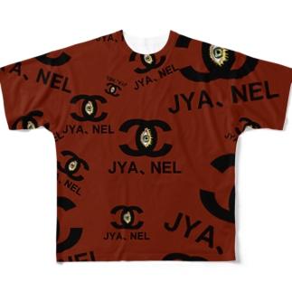JYA、NEL(じゃ寝る)ロゴプリントパロディTシャツ フルグラフィックTシャツ