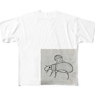 ゾウムシさわさわ フルグラフィックTシャツ