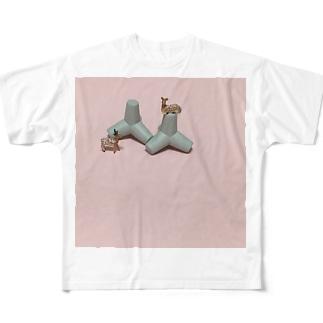 鹿と消波ブロック Full graphic T-shirts