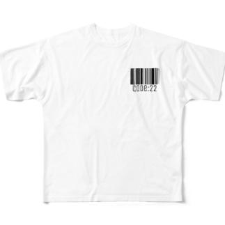 code:22《バーコード…BLACK》 Full graphic T-shirts