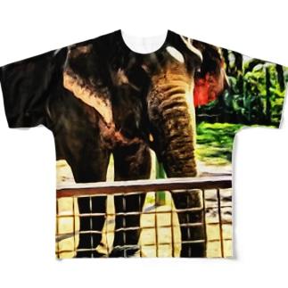油絵風の象だゾウvol.2 フルグラフィックTシャツ