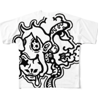 oreteki design shopのキモグロかわいい!白黒Ver Full graphic T-shirts