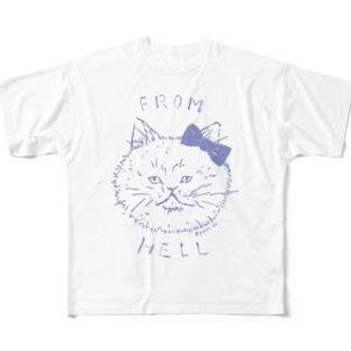 ねこ from hell (purple) Full graphic T-shirts
