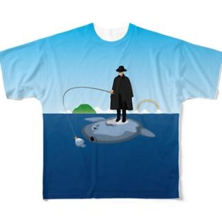 マンボウに乗った旅人 Full graphic T-shirts