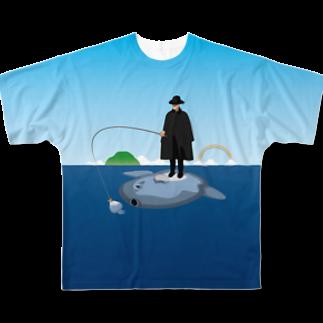 めぐみさらしのマンボウに乗った旅人 フルグラフィックTシャツ