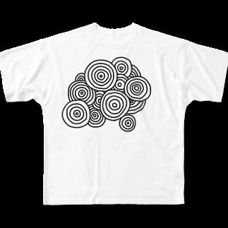 晴田書店のぐるぐる Full graphic T-shirts