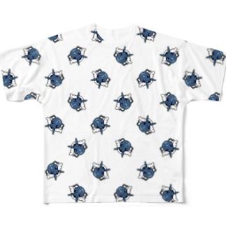 天使犬ラル(格子パターン) フルグラフィックTシャツ