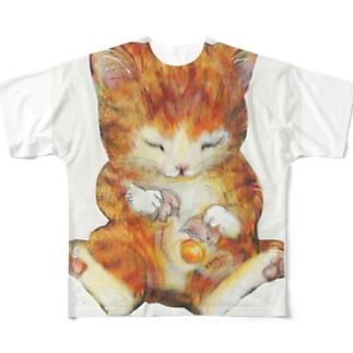 猫の手もかりるよ。卵をわる子猫 Full graphic T-shirts