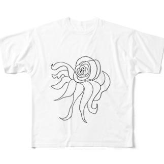 JUNSEN(純仙)すばしっこい軟体動物 Full graphic T-shirts