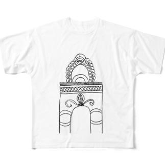 JUNSEN(純仙)学び舎の門 Full graphic T-shirts