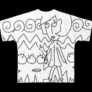晴田書店のトレンチレディー Full graphic T-shirts