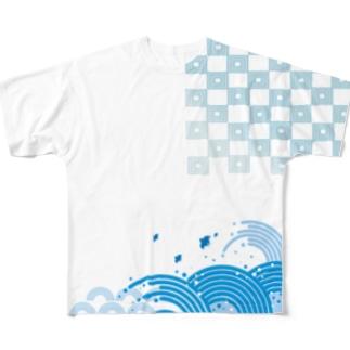 和風な波と千鳥のTシャツ フルグラフィックTシャツ