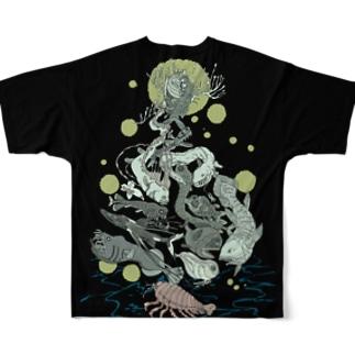 深海魚Tシャツ Full graphic T-shirts