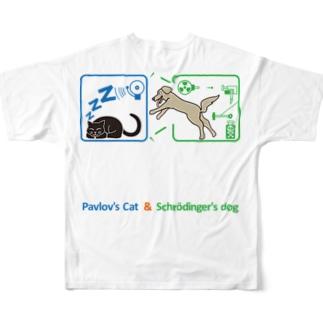 ACTIVE-HOMINGのパブロフの猫とシュレーディンガーの犬(カラー) Full graphic T-shirts