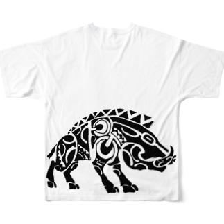 イノシシくん Full graphic T-shirts