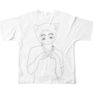 犬 女の子 フルグラフィック Tシャツ Full graphic T-shirts