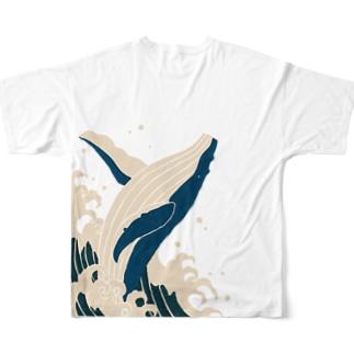 シロナガスクジラ Full graphic T-shirts