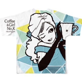 """Coffee&Girl """"No.K""""(バックプリント) Full graphic T-shirts"""