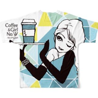 "Coffee&Girls ""No.W""(バックプリント) Full graphic T-shirts"