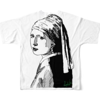 真珠スケッチ Full graphic T-shirts