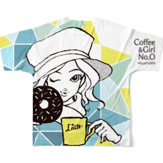 "Coffee&Girl ""No.O""(バックプリント) Full graphic T-shirts"