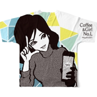 """Coffee&Girl """"No.L""""(バックプリント) Full graphic T-shirts"""