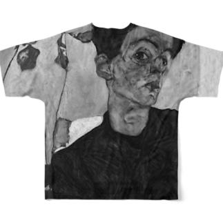 Takahashijunのエゴン・シーレ モノトーン Full graphic T-shirts